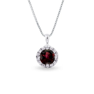 SILVER PENDANT WITH GARNET AND CZ STONES - GEMSTONE PENDANTS - PENDANTS