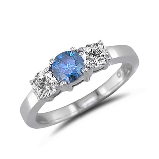 BLUE AND WHITE DIAMOND RING IN 14KT GOLD - DIAMOND RINGS - RINGS