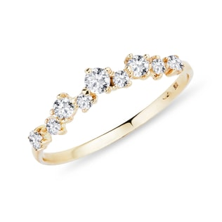 DIAMOND RING YELLOW GOLD - RINGS FOR HER - WEDDING RINGS
