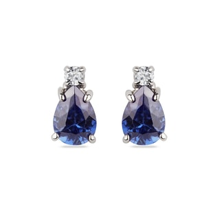 TANZANITE AND DIAMOND 14KT GOLD EARRINGS - TANZANITE EARRINGS - EARRINGS