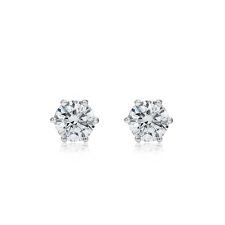 DIAMOND STUD EARRINGS IN 14KT WHITE GOLD - STUD EARRINGS - EARRINGS