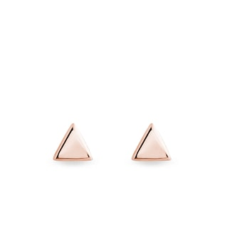 Gold stud earrings in the shape of triangles