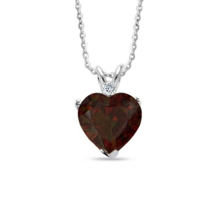 SILVER PENDANT WITH GARNET AND DIAMOND - HEART PENDANTS - PENDANTS