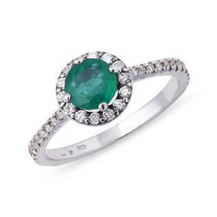 EMERALD ENGAGEMENT RING IN 14KT WHITE GOLD - ENGAGEMENT HALO RINGS - ENGAGEMENT RINGS