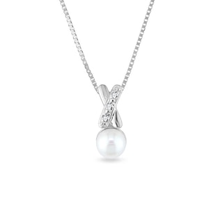 GOLD NECKLACE WITH PEARL AND DIAMONDS - PEARL PENDANTS - PEARL JEWELLERY