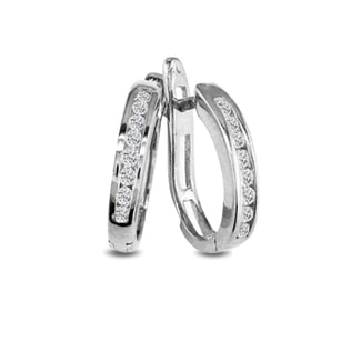 DIAMOND HOOP EARRINGS IN 14KT WHITE GOLD - DIAMOND EARRINGS - EARRINGS
