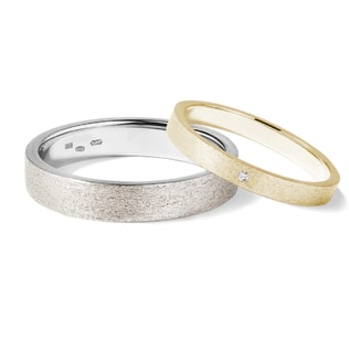 Wedding rings of yellow and white gold