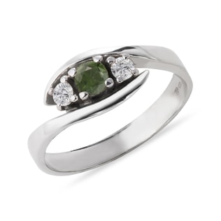 SILVER RING WITH MOLDAVITE AND DIAMONDS - MOLDAVITE RINGS - RINGS