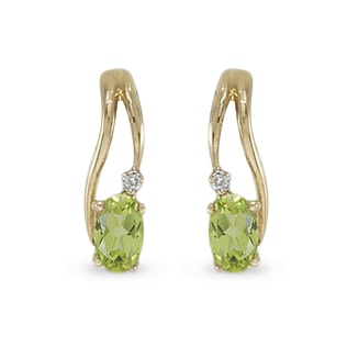PERIDOT AND DIAMOND EARRINGS IN 14KT GOLD - YELLOW GOLD EARRINGS - EARRINGS