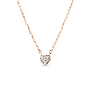 Diamond pendant with heart in pink gold