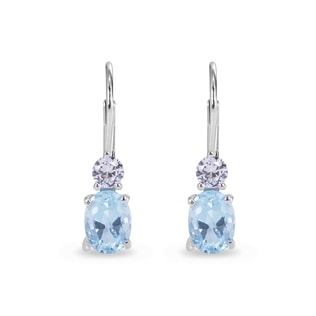 TOPAZ AND SAPPHIRE EARRINGS IN STERLING SILVER - TOPAZ EARRINGS - EARRINGS