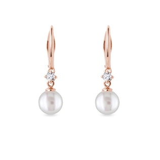 Freshwater pearl and diamond earrings in rose gold