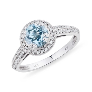 AQUAMARINE AND DIAMOND RING IN 14KT GOLD - ENGAGEMENT HALO RINGS - ENGAGEMENT RINGS