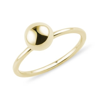 Minimalist ball ring in yellow gold