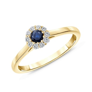 SAPPHIRE AND DIAMOND RING IN 14KT YELLOW GOLD - SAPPHIRE RINGS - RINGS
