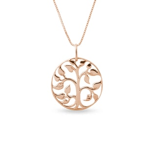 Gold necklace in the shape of a tree