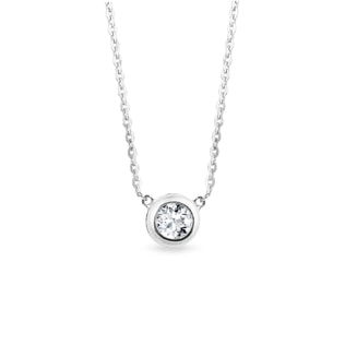 NECKLACE IN WHITE GOLD WITH A DIAMOND - DIAMOND PENDANTS - PENDANTS