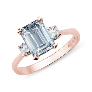 GOLD RING WITH AQUAMARINE AND DIAMONDS - AQUAMARINE RINGS - RINGS
