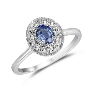 SAPPHIRE AND DIAMOND GOLD RING IN WHITE GOLD - SAPPHIRE RINGS - RINGS