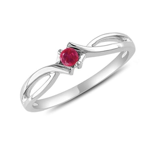 RUBY RING IN 14KT GOLD - WHITE GOLD RINGS - RINGS