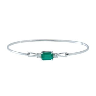 Emerald and diamond bracelet in 14kt gold