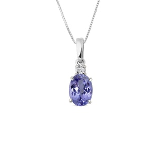 TANZANITE AND DIAMOND PENDANT IN 14KT GOLD - GEMSTONE PENDANTS - PENDANTS