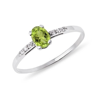 PERIDOT AND DIAMOND RING IN GOLD - ENGAGEMENT GEMSTONE RINGS - ENGAGEMENT RINGS