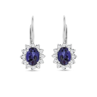 EARRINGS WITH DIAMONDS AND TANZANITES - TANZANITE EARRINGS - EARRINGS