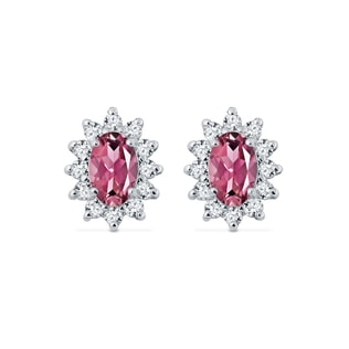 EARRINGS IN WHITE GOLD WITH DIAMONDS AND TOURMALINES - TOURMALINE EARRINGS - EARRINGS