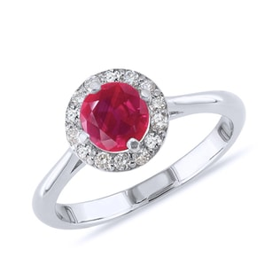 RUBY AND ​DIAMOND RING IN 14KT GOLD - ENGAGEMENT GEMSTONE RINGS - ENGAGEMENT RINGS