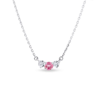 Gold diamond necklace with pink sapphire