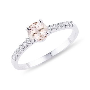 Morganite and diamond band engagement ring in white gold