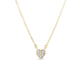 Diamond heart charm in yellow gold