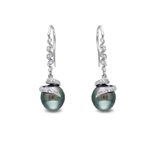 TAHITIAN PEARL AND DIAMOND EARRINGS IN WHITE GOLD - PEARL EARRINGS - PEARL JEWELLERY