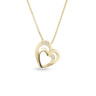 YELLOW GOLD HEART PENDANT WITH DIAMONDS - HEART PENDANTS - PENDANTS