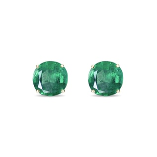 Emerald 14kt gold earrings