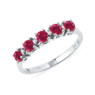 Ring of gold with rubies and diamonds