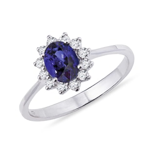 WHITE GOLD RING WITH DIAMONDS AND TANZANITE - TANZANITE RINGS - RINGS