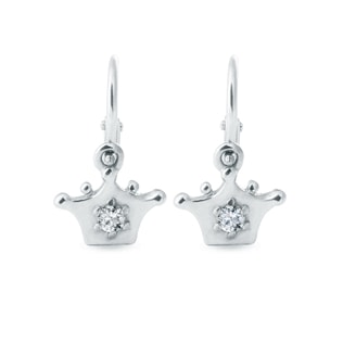 BABY DIAMOND CROWN EARRINGS IN WHITE GOLD - WHITE GOLD EARRINGS - EARRINGS
