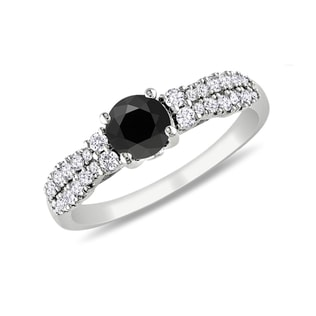 BLACK AND WHITE DIAMOND RING IN 14KT GOLD - DIAMOND RINGS - RINGS