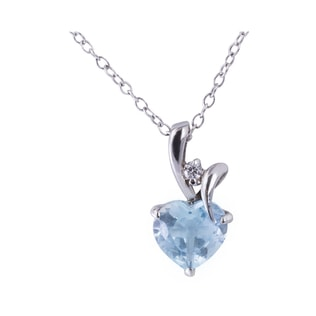 DIAMOND AND AQUAMARINE HEART PENDANT IN 14KT GOLD - HEART PENDANTS - PENDANTS