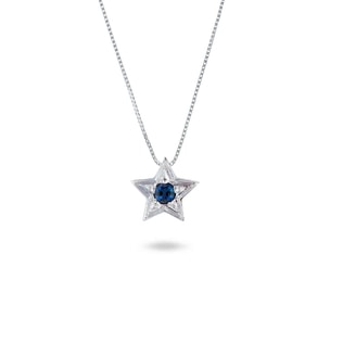 BLUE SAPPHIRE STAR PENDANT IN 14KT GOLD - WHITE GOLD PENDANTS - PENDANTS