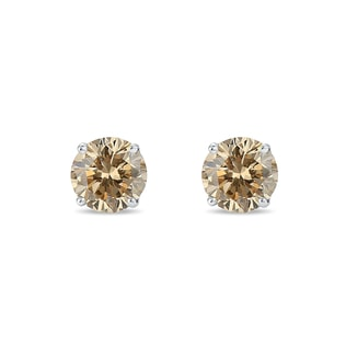 SILVER CHAMPAGNE DIAMOND STUD EARRINGS - STUD EARRINGS - EARRINGS
