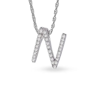 LETTER N DIAMOND PENDANT IN 14KT GOLD - DIAMOND PENDANTS - PENDANTS