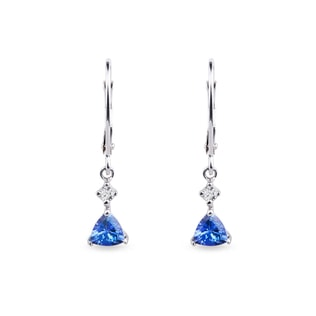 TANZANITE AND DIAMOND EARRINGS IN 14KT GOLD - GEMSTONES EARRINGS - EARRINGS