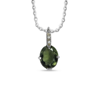 MOLDAVITE AND DIAMOND PENDANT IN 14KT GOLD - WHITE GOLD PENDANTS - PENDANTS