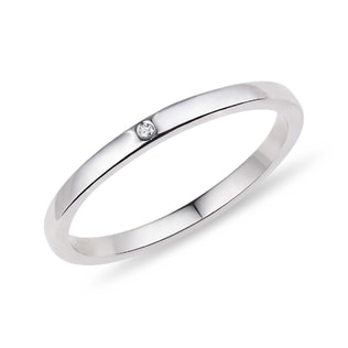 WEDDING RING MADE OF WHITE GOLD WITH DIAMOND - RINGS FOR HER - WEDDING RINGS