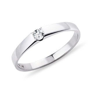 ELEGANT RING WITH DIAMOND - WHITE GOLD RINGS - RINGS