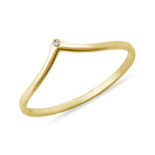 DIAMOND RING IN YELLOW GOLD - MINIMALISTIC JEWELRY - FINE JEWELRY