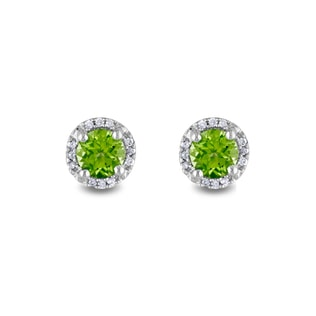 PERIDOT AND DIAMOND EARRINGS IN SILVER - STERLING SILVER EARRINGS - EARRINGS